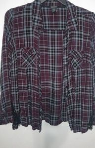 TORRID Maroon Plaid Thin Flannel Top 1X Plus
